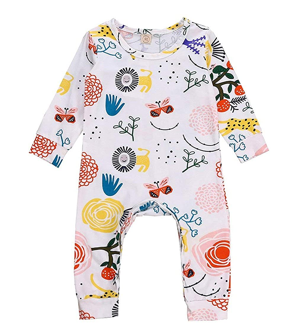 XUANOU Baby Long Sleeves Lion Flower Animal Plant Cartoon Print Onesie Newborn Boys Girls Floral Romper Jumpsuit Outfits
