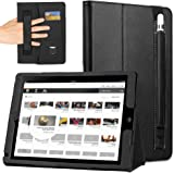 COCASES iPad Pro 12.9 Case, iPad Pro Case, PU Leather Flip Cover Stand Smart Case Auto Sleep/Wake With Pencil Holder Hand Strap Card Slot Document Cash Pocket for iPad 12.9 Inch 2017 2015 - Black