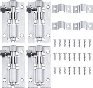 HSEAMALL perno de puerta corrediza de acero inoxidable de 2 pulgadas, cierre deslizante de barril, pestillo de bloqueo de puerta con tornillos para puerta de inodoro de baño, 4 unidades: Amazon.es: Bricolaje