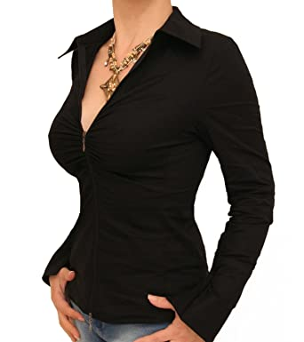 Blue Banana - Zip Up Stretchy Fitted Shirt at Amazon Women's ...