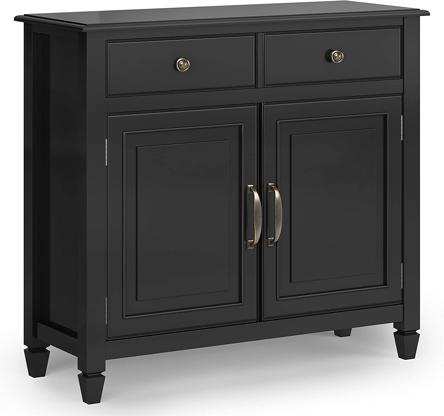 SIMPLIHOME Connaught SOLID WOOD 40 inch Wide Traditional Entryway Storage Cabinet in Black, with 2 Drawers, 2 Doors, Adjustable Shelves