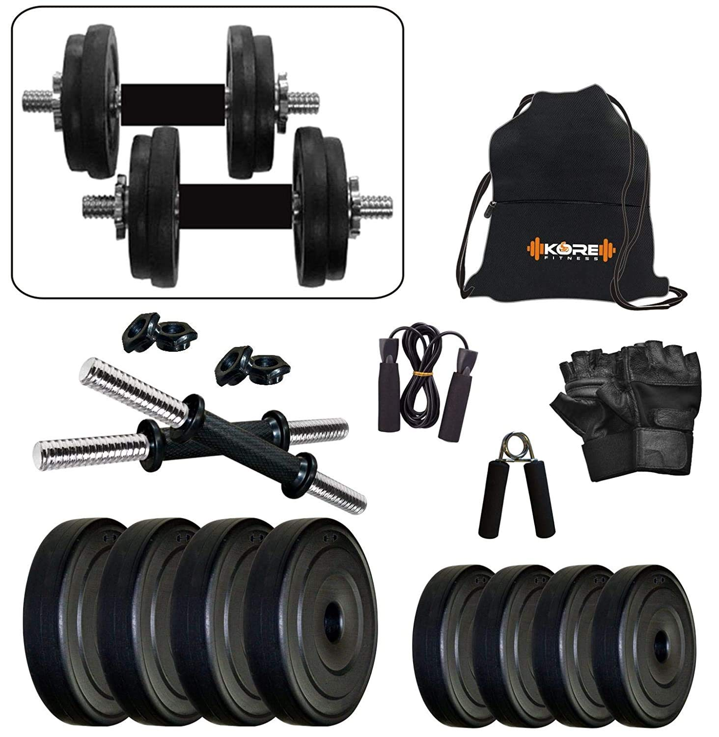 Kore PVC-DM Combo (4 Kg to 26 Kg) Home Gym and Fitness Kit with Gym Accessories