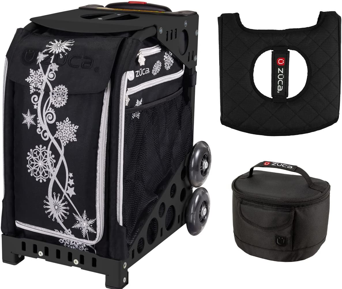 Zuca Sport Bag Black Non-Flashing Wheels Frame Silver Shimmer with Gift Lunchbox and Seat Cover