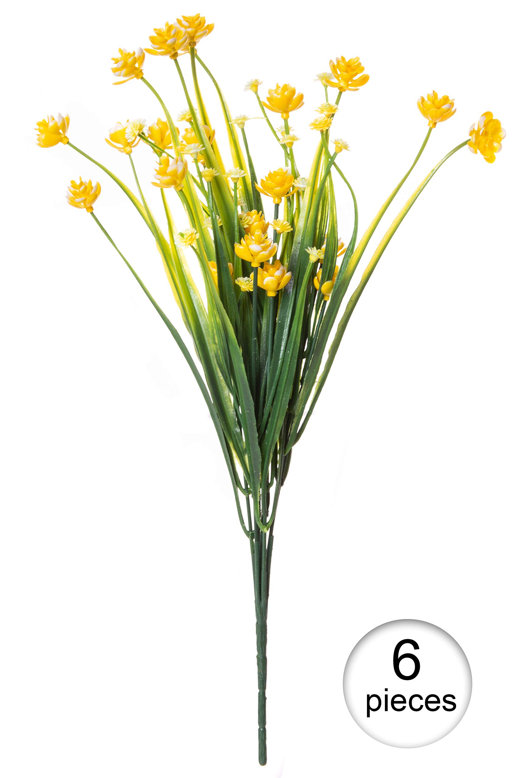 Red Co. Faux Floral Bouquet, Artificial Fake Greenery Flowers for Home and Outdoor Garden Decor, 6 Single Picks, Spring Yellow by Red Co. (Image #2)