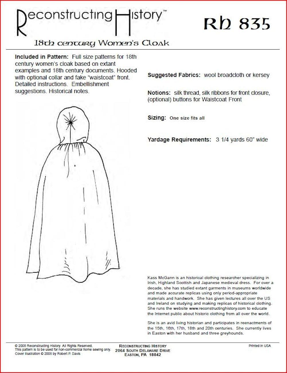 Amazon.com: 18th Century Women\'s Cloak Pattern: Arts, Crafts & Sewing