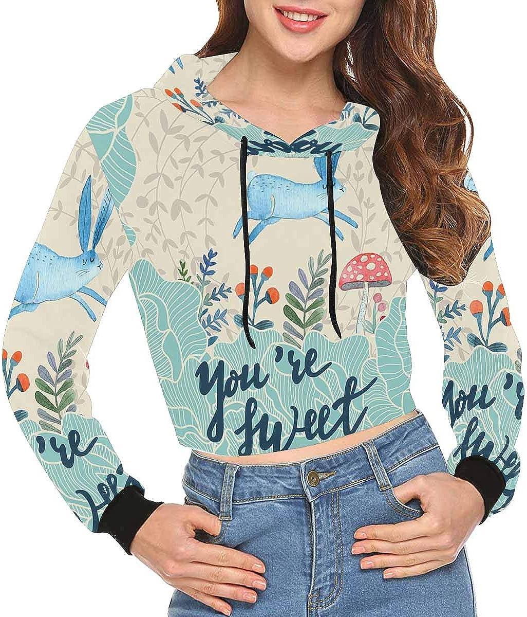 INTERESTPRINT Womens Fashion Crop Hoodie Sweatshirt XS-2XL