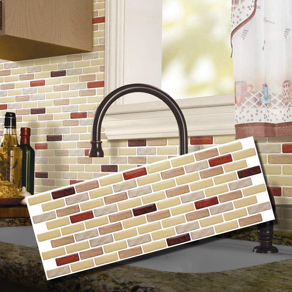 1pcs Brown Brick BEAUSTILE Decorative Tile Stickers Peel and Stick Backsplash Fire Retardant Tile Sheet