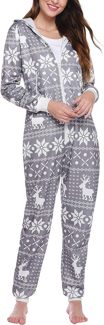 iClosam Pijamas Mujer Invierno Algodon Estampados Sudaderas con Capucha Onsies Christmas