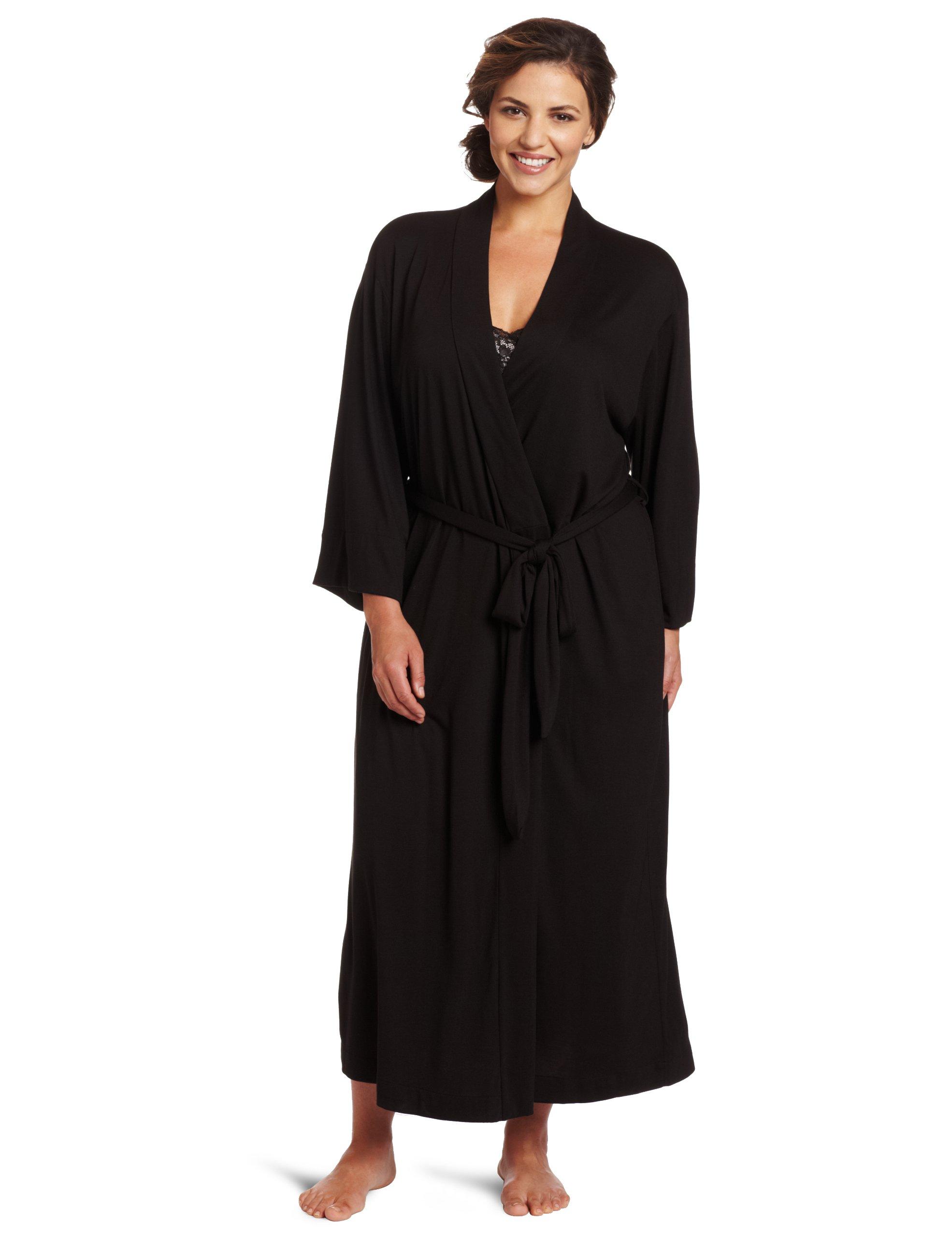 Natori Women's  Plus-Size Shangri-La Bathrobe, Black, 1X