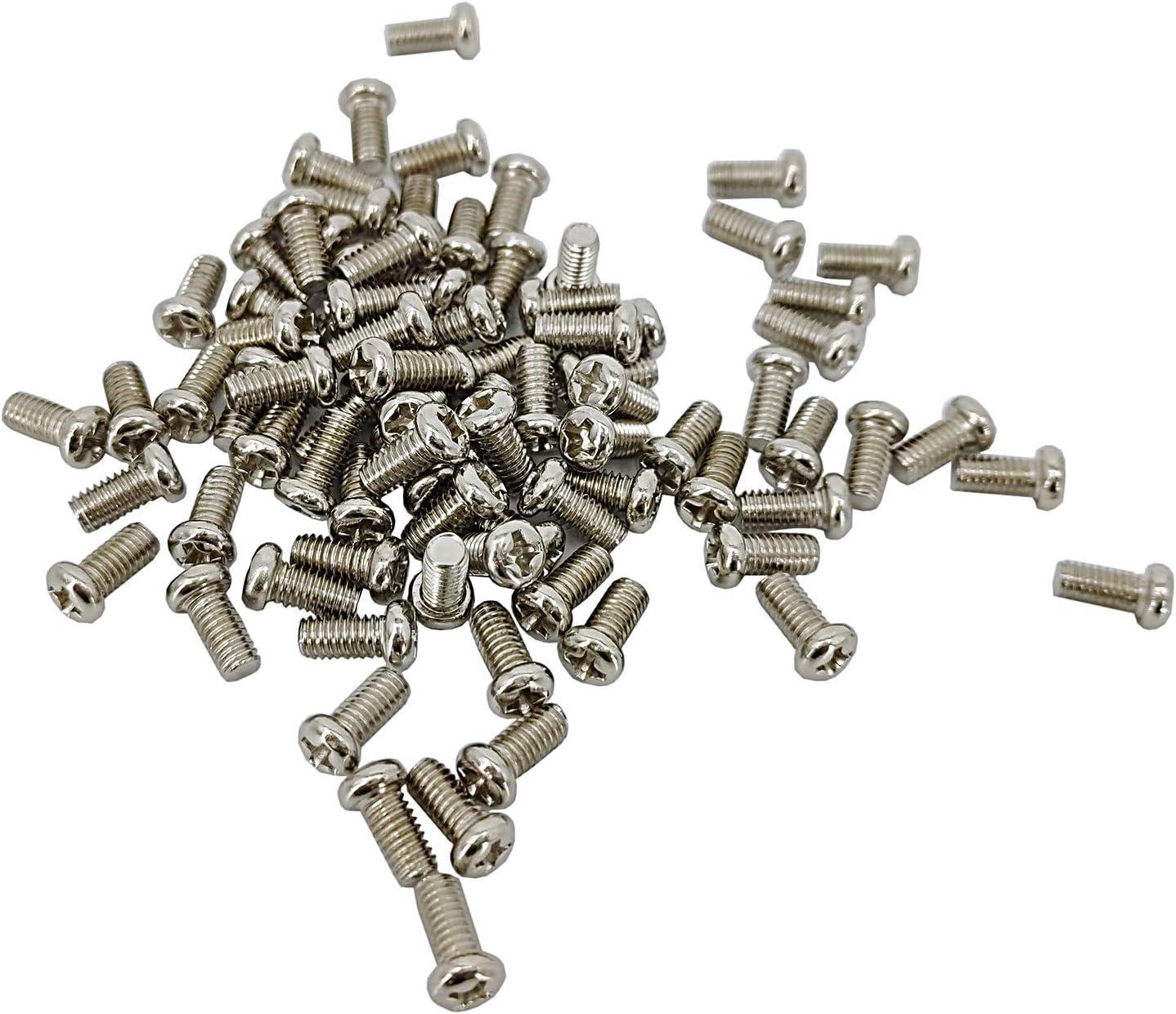 FixtureDisplays 100PK M4 X 8mm Pitch 0.7mm Round Head Metric Screw Phillips Drive Carbon Steel Nickel Plated Cross Recessed 304700