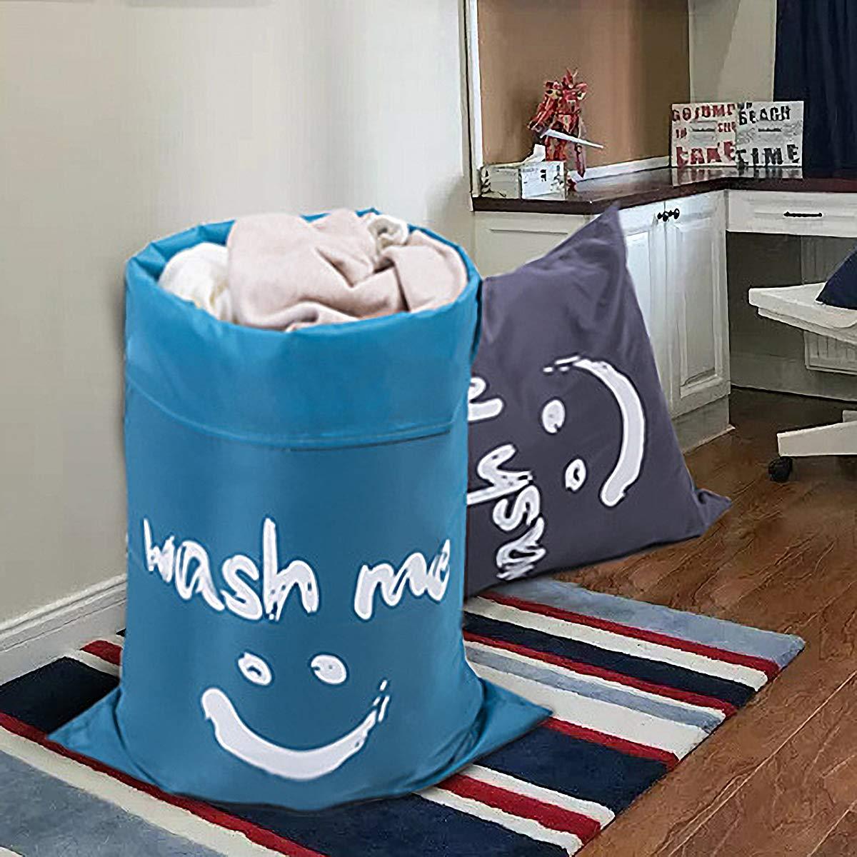 ZERO JET LAG 2 Pack Extra Large Travel Laundry Bag Set Nylon Rip-Stop Dirty Storage Bag Machine Washable Drawstring Closure 24'' x 36'' (Blue and Gray) by ZERO JET LAG (Image #10)