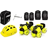 Jaspo Road Razor Intact Adjustable Senior Roller Skates Combo Suitable for Age Group 6 to 14 Years
