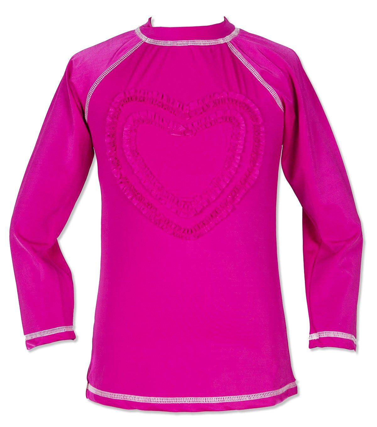 Teen Big Girls' Ruffled Valentine Long-Sleeve Rash Guard Swim Shirts UPF 50+ Sun Protective Aloha Pink 8-9