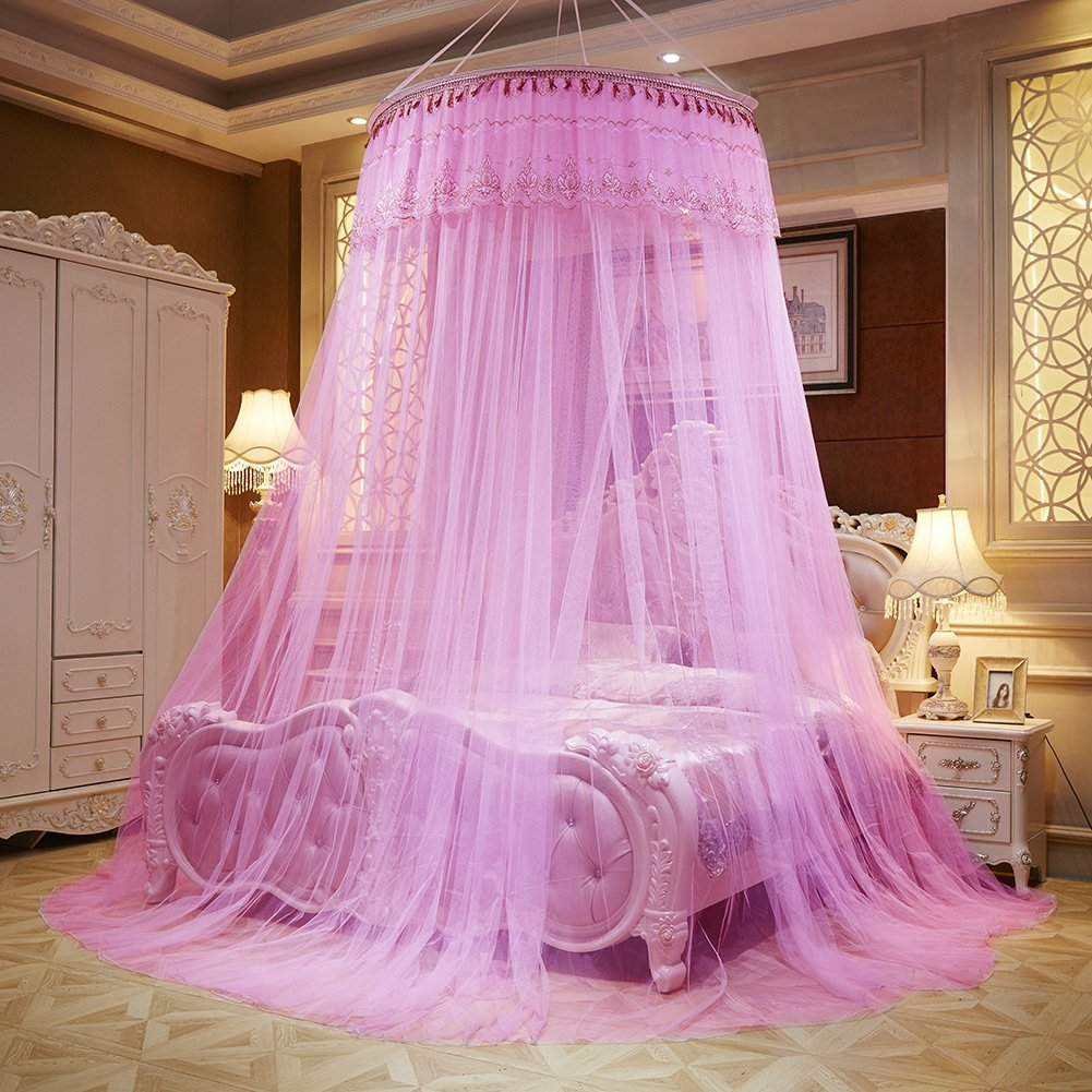 Per Enlarge Princess Dome Netting Curtains With Short Tassels Hanging Canopy Play Tent Mosquito Net For Bedroom Height 280cm/110.23in,Dome Diameter 100 cm/39.37in-Pink