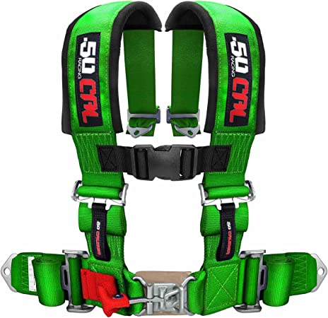 and Latch Lock System for Cars Trucks 50 Caliber Racing Green 5 Point Harness with 2 Straps Antisubmarine Strap 6009-A1 UTV and Off Road Vehicles Sternum Strap Sewn in Pads