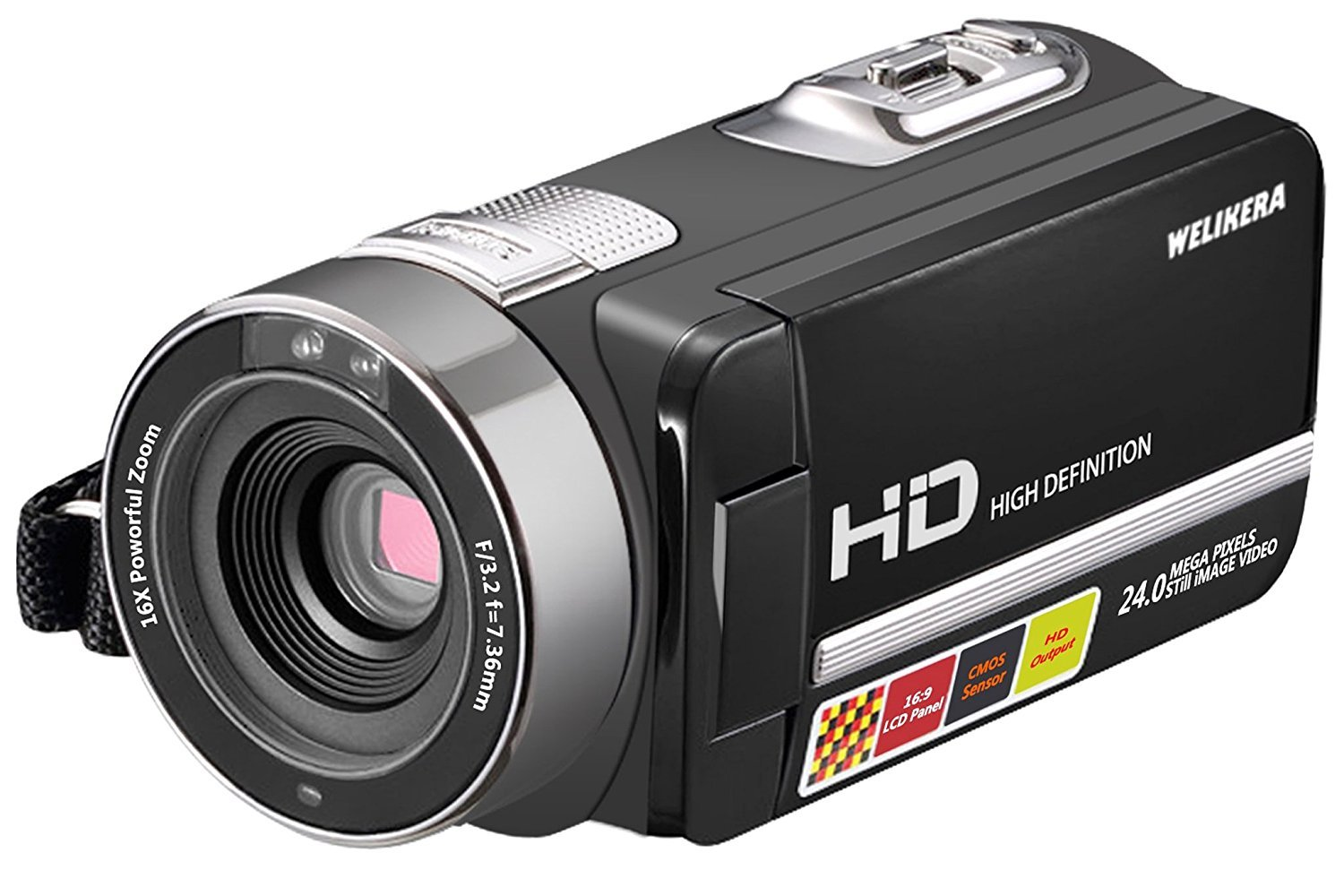 WELIKERA Camera Camcorder, Remote Control Handy Camera, IR Night Vision Camcorder, HD 1080P 24MP 16X Digital Zoom Video Camcorder with 3.0'' LCD and 270 Degree Rotation Screen