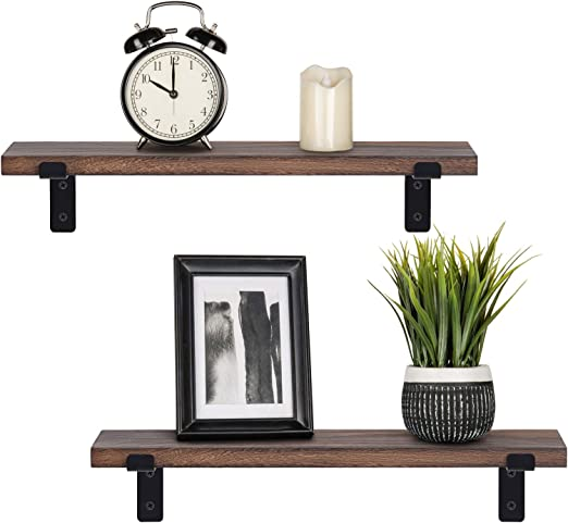Nature Mkono Wall Mounted Floating Shelves Set of 2 Rustic Small /& Large