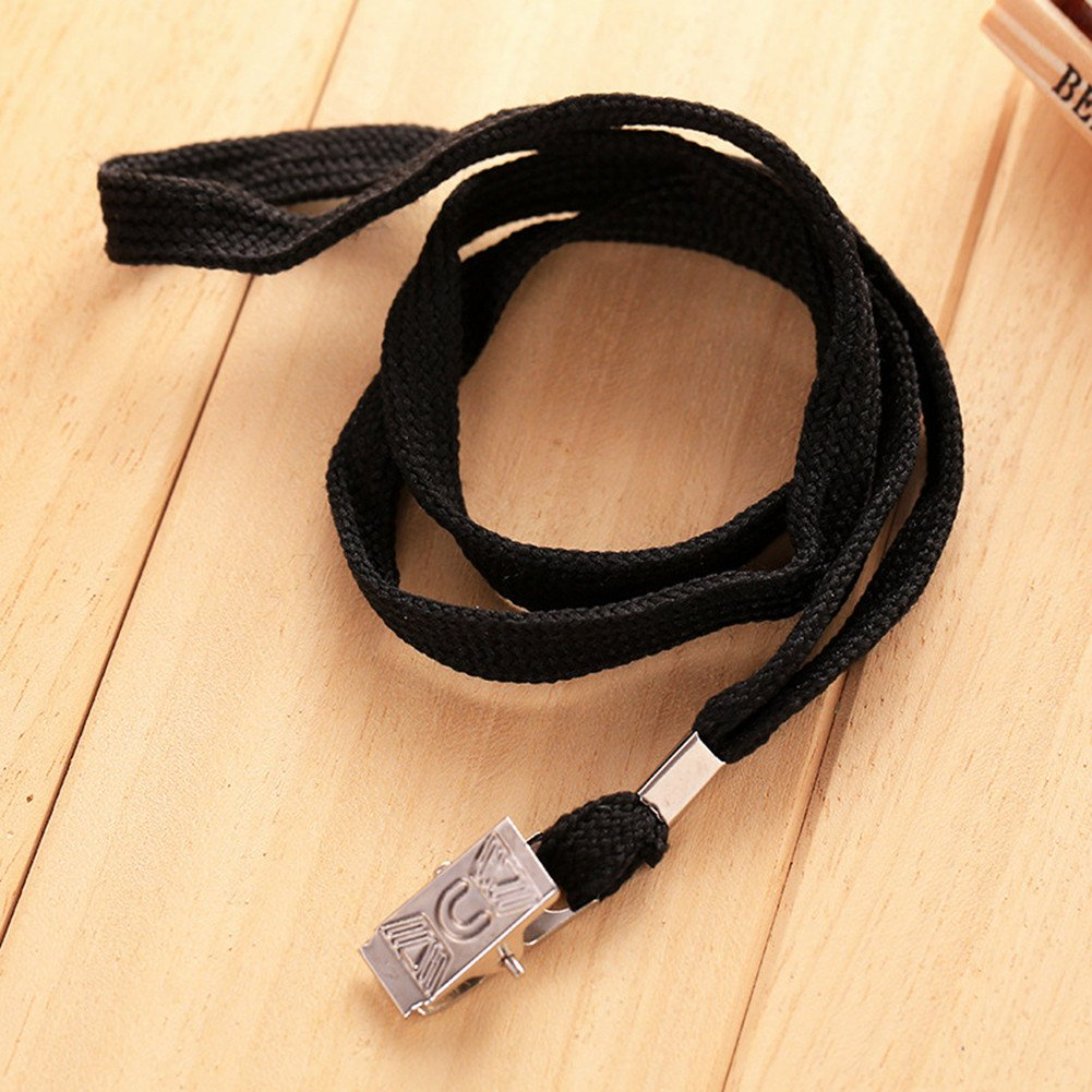 100pcs Black Blank Flat Nylon Neck Lanyards / Straps / Strings with Bulldog Badge Clip Attachment for Office ID Name Tags and Badge Holders