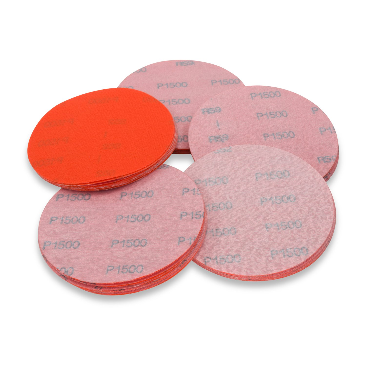 5 Inch 1500 Grit High Performance Hook and Loop Wet/Dry Auto Body Film Sanding Discs, 50 Pack
