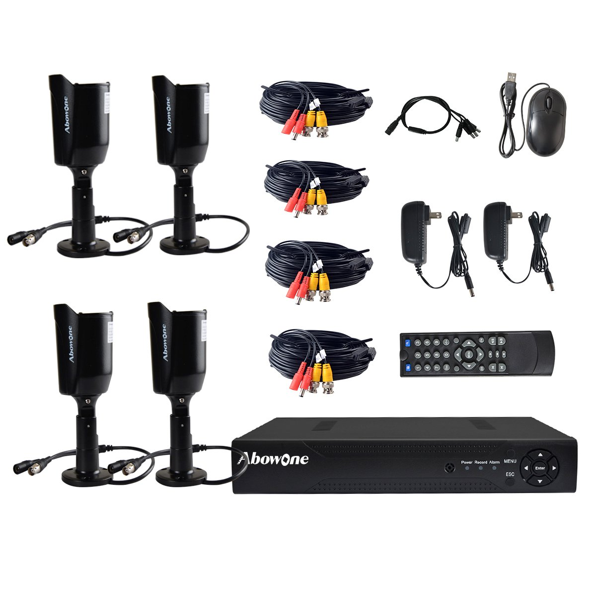 Security Camera System,Abowone 8CH 1080N CCTV DVR Recorder And 4 x 720P(1280TV line)Outdoor Video Surveillance Cameras /65ft Night Vision