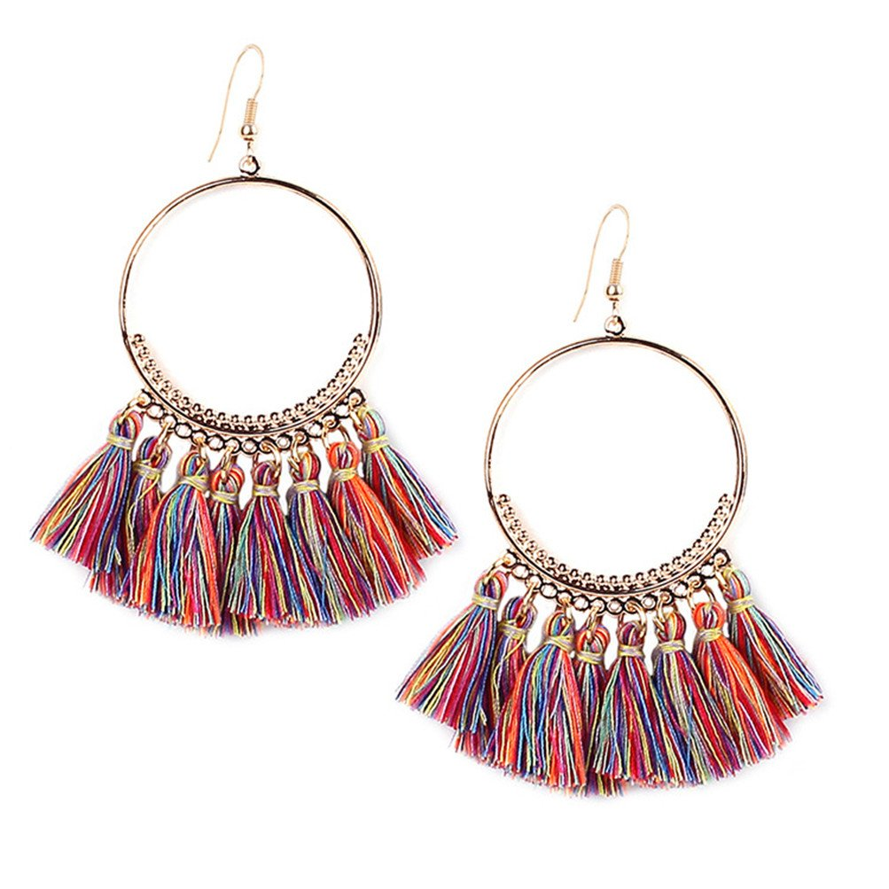 Bohemian Women Fringe Thread Ball Beaded Tassel Hoop Earrings Gift For Her (I)