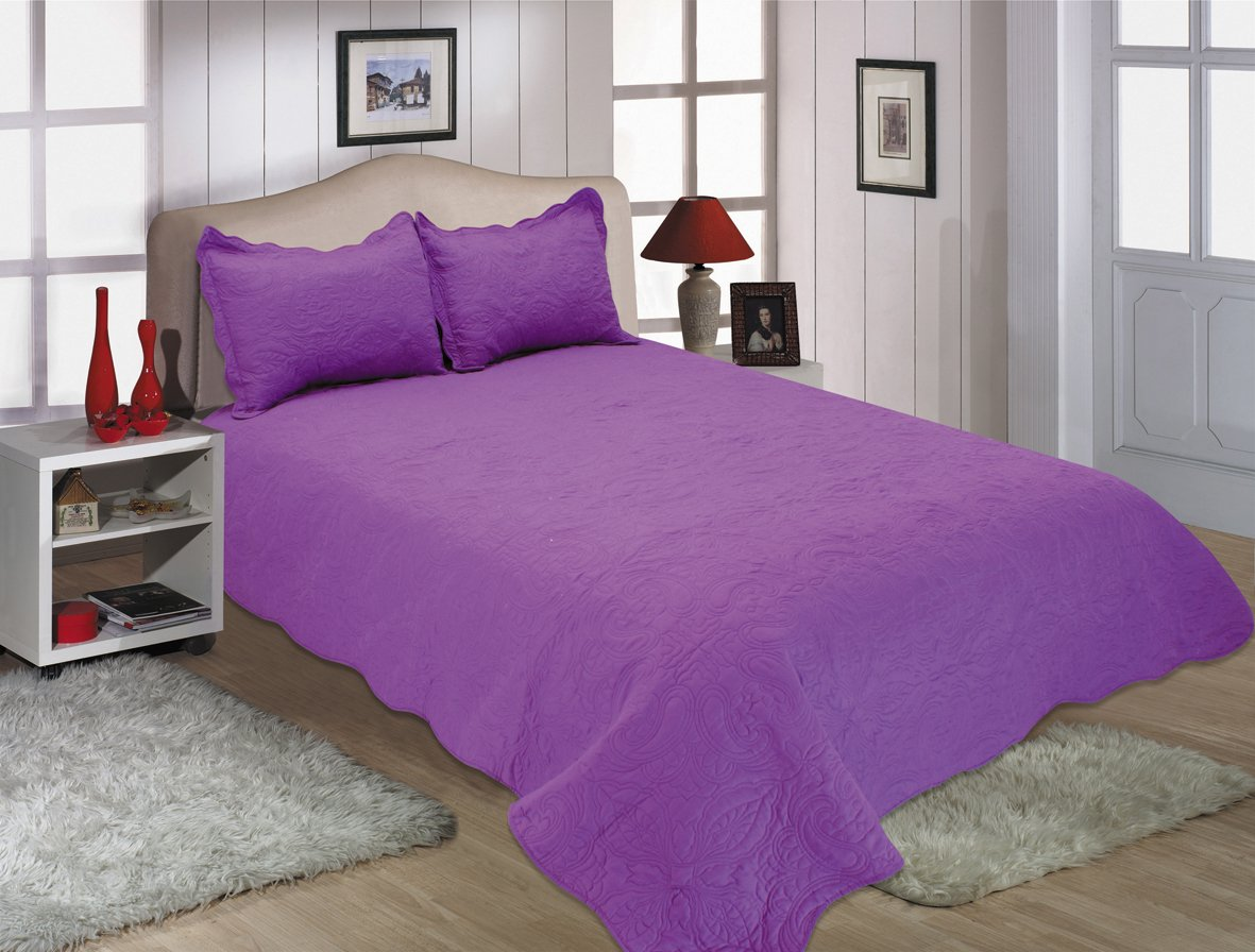 Quilt Set with Embroideries ALL FOR YOU 2-Piece Reversible Bedspread//Coverlet Purple, Twin ALL FOR YOU HOME 510-37