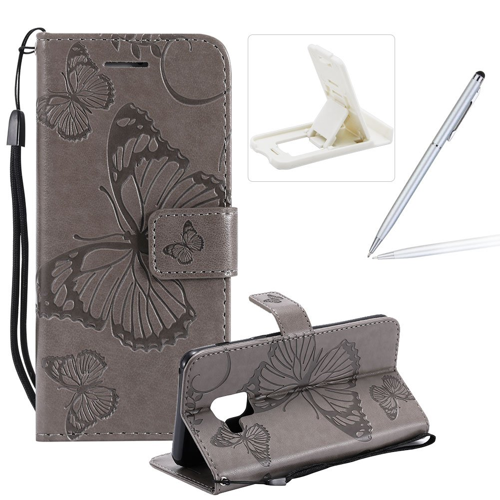 Strap Leather Case for Samsung Galaxy A8 2018,Wallet Leather Case for Samsung Galaxy A8 2018,Herzzer Premium Stylish Pretty 3D Blue Butterfly Printed Bookstyle Magnetic Full Body Soft Rubber Flip Portable Carrying Stand Case with Card Holder Slots