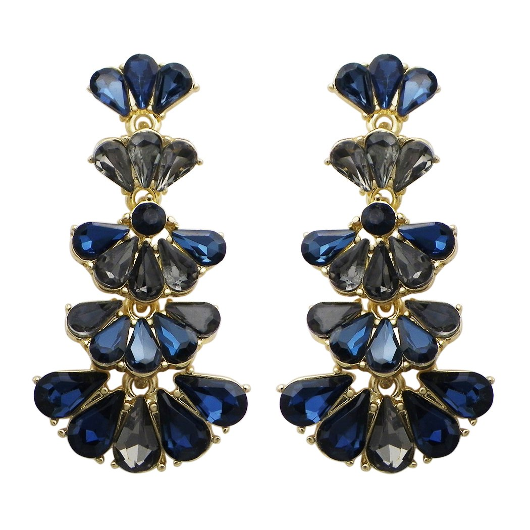 Rosemarie Collections Women's Fashion Jewelry Vintage Style Fan Crystal Drop Earrings (Navy Blue)