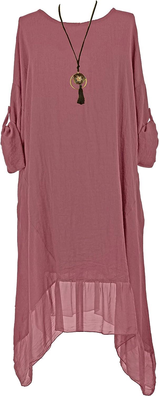 Ladies Womens Italian Lagenlook Cold Shoulder Silk Tunic Dress Top One Size Plus