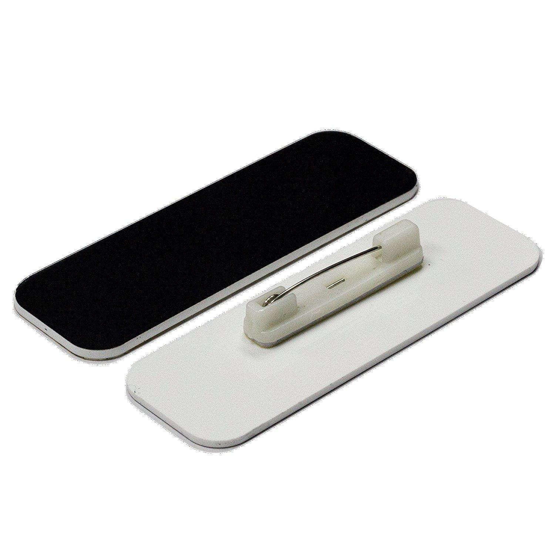Name Tag / Badge Blanks - 50 Pack - 1'' X 3'' (Black) Round Corners, White Pin Backing