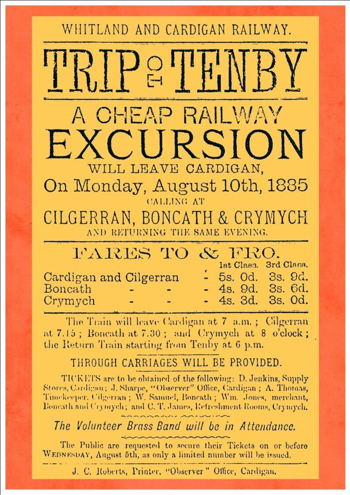 1885 A4 Glossy Vintage Railway Poster Art Print Trip To Tenby Whitland /& Cardigan Railway