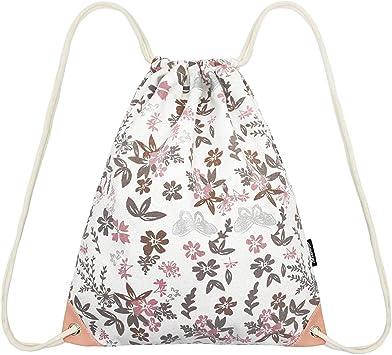 Unisex Flower Print Backpack Drawstring Rucksack Canvas Sport Gym Swim Dance