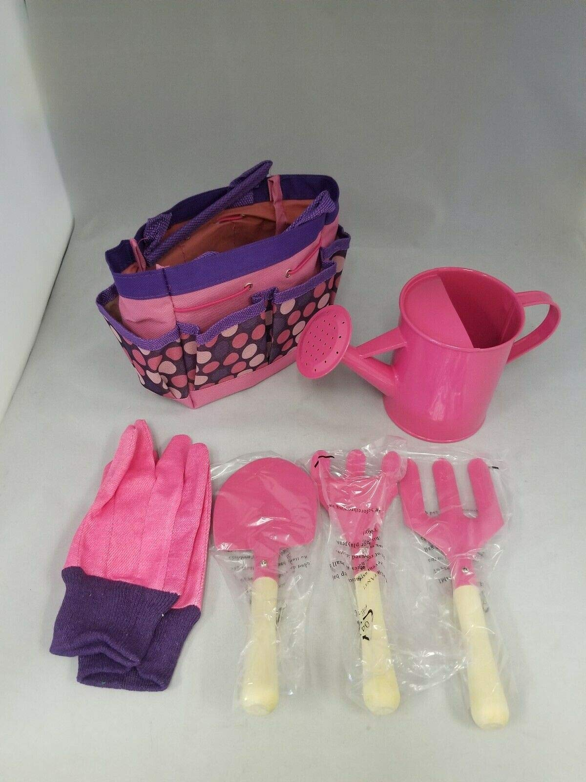 miracle9 Gardenline Children's Garden Tool Set Watering Can Gloves Tools in a Bag - Pink
