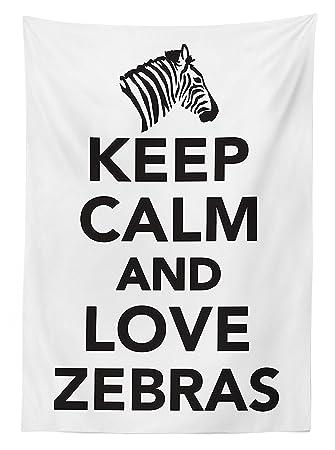 Amazon.com: Zebra Print Decor Tablecloth Keep Calm And Love Zebras ...