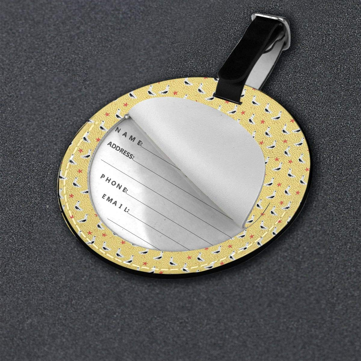 Cute Seagulls Leather Round Luggage Tags Suitcase Labels Bag
