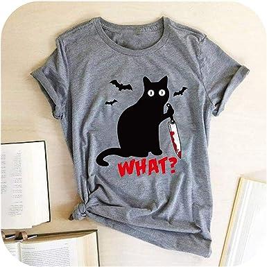 Cuchillo Gato Negro Gato Camiseta Lo asesina Mujeres Camiseta Divertida de Camisetas de Manga Cortas TES de Las Tapas: Amazon.es: Ropa y accesorios
