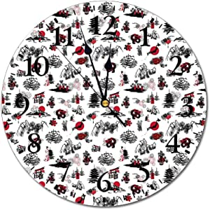 Yeeboo Asian 3D Print Round Wall Clock,Japanese Architecture Towers Palaces Houses Sketchy Silhouettes Dragon Decorative 10 Inch Battery Operated Quartz Analog Quiet Desk Clock,Dark Coral Black White