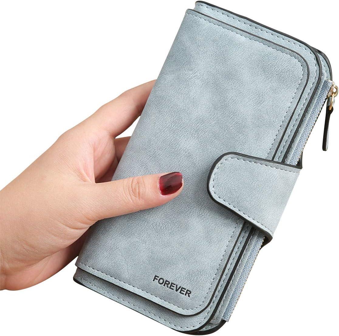 3 PCS Gran Capacidad Cartera de Cuero de Mujer, Bloqueo RFID Monedero de Piel para Señora, Larga Billetera de Mujer con Bolsillo de Cremallera y Correas de Muñeca (Azul)