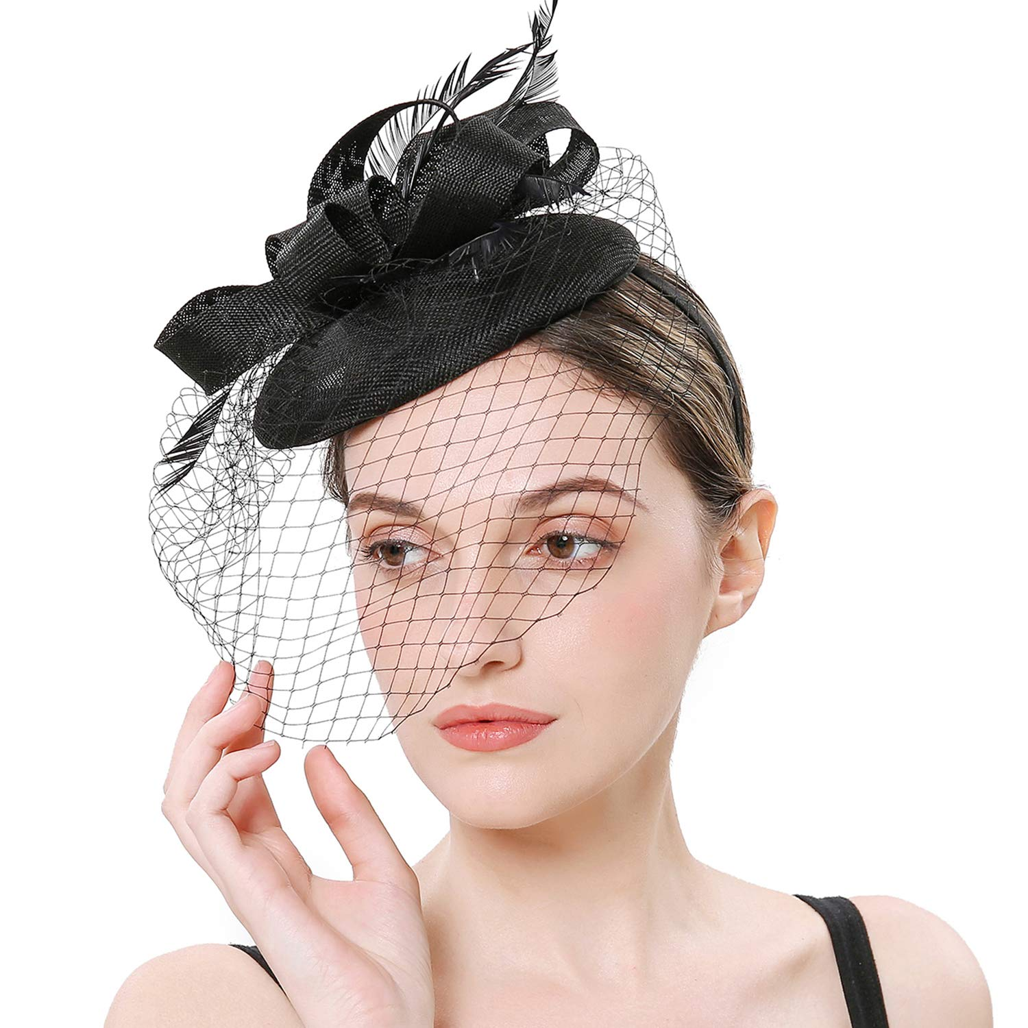 BABEYOND Women's Fascinators Hat Hair Clip Pillbox Hat Tea Party Fascinator Hat with Veil Headband for Cocktail Wedding Hair Accessories (Black4) by BABEYOND