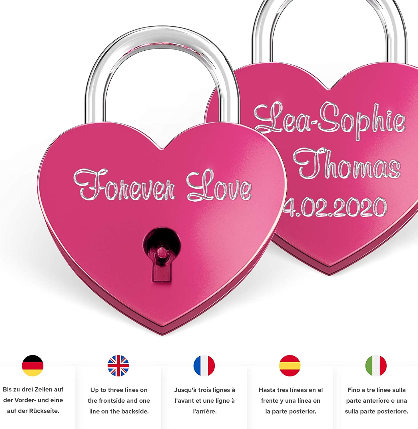 Free Gift-Box and Much More/… Get Your Customized Little Love-Lock Now! LIEBESSCHLOSS-FACTORY Engraved Heart-Shaped Mini Padlock Black