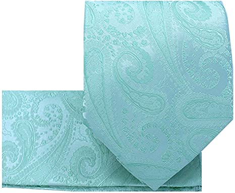 Vesuvio Napoli Peach PAISLEY NeckTie /& Handkerchief Matching Mens Neck Tie Set
