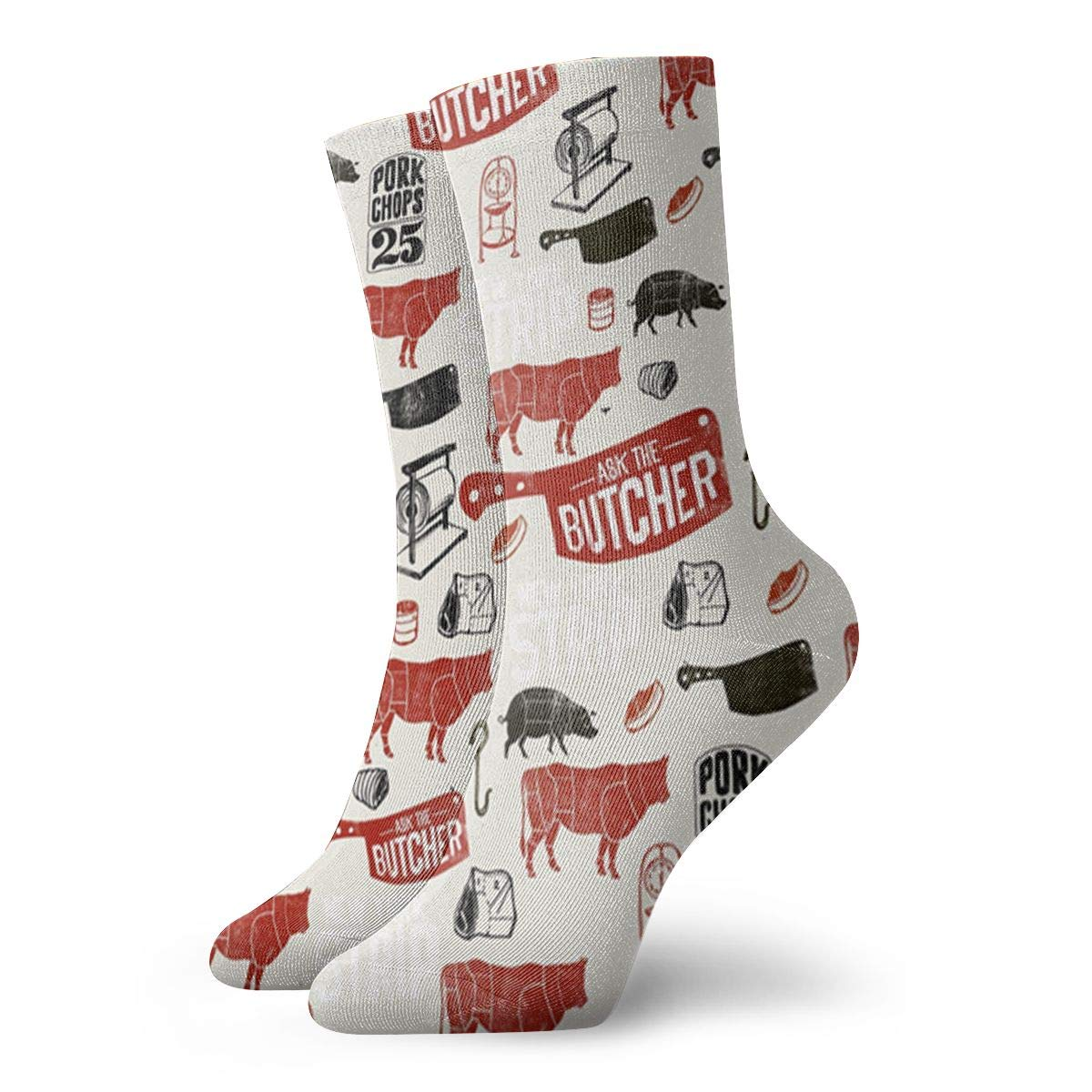 Meat Butcher Pattern Unisex Funny Casual Crew Socks Athletic Socks For Boys Girls Kids Teenagers