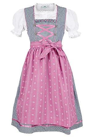 Isar-Trachten Mädchen Kinderdirndl Marine pink mit Bluse, Marine,