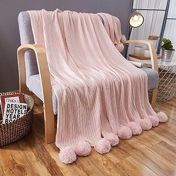 Amazon.com: Algodón manta de punto con bolas Mantas de cama ...