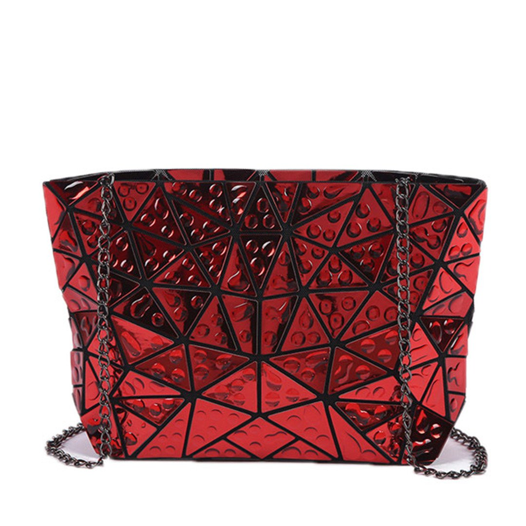 Folded Women Handbags PU Leather Bag Bao Bao Geometric Shoulder Bag Raindrop Casual Tote Clutch Messenger Bags Red