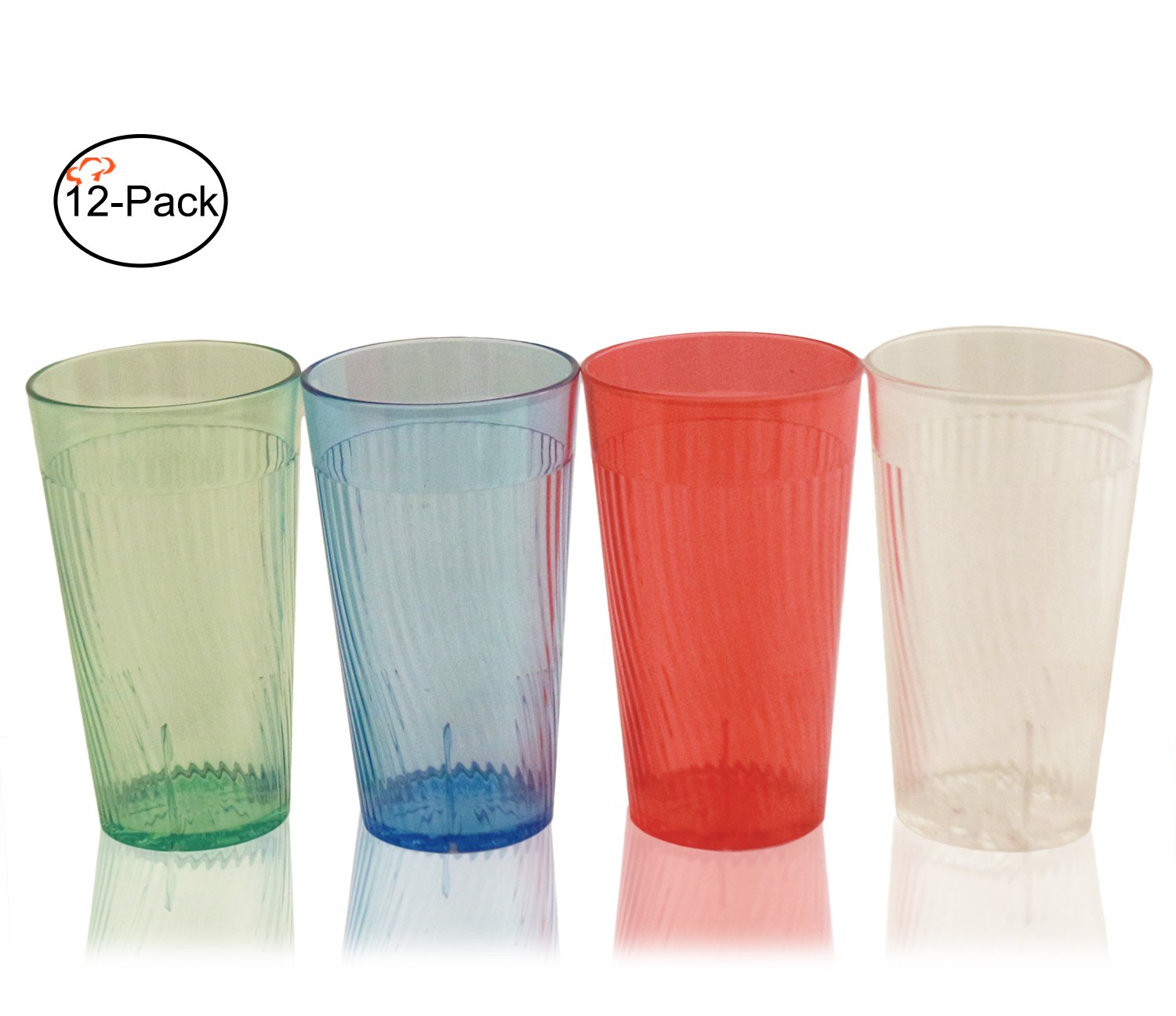 Tiger Chef 10 ounce Glass Like Break-Resistant Plastic Tumbler Set, Exclusive Starburst Design Stackable Restaurant Beverage Cup, Assorted Colors (12-Pack)