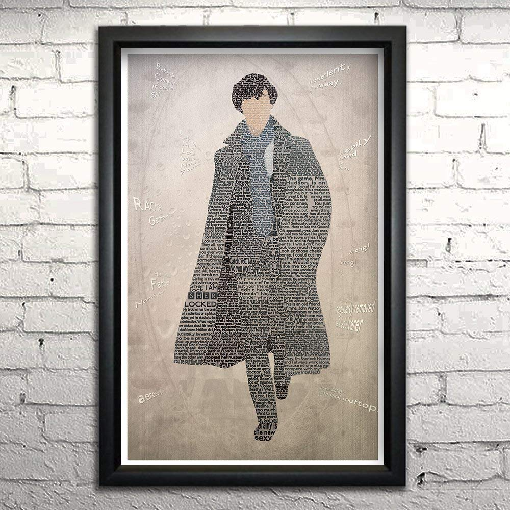 "Sherlock word art print 11x17"" Framed 
