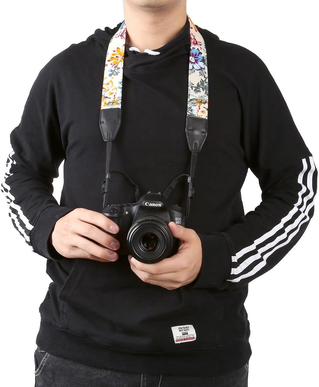 Yoption Vintage Floral Cotton Canvas Camera Neck Shoulder Belt with Connect Buckle for All DSLR SLR Camera Neck Shoulder Strap