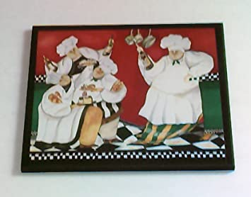 Chef Kitchen Wall Decor Plaque Fat French Chefs Leaning On Counter Sign Red