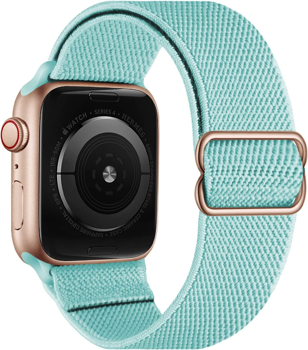 OXWALLEN Stretchy Nylon Solo Loop Compatible with Apple Watch Bands 38mm 40mm, Adjustable Elastic Braided Stretches Women Men Strap for iWatch SE Series 6/5/4/3/2/1,Mint Green